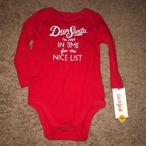 NWT Cat and Jack Onesie Christmas Dear Santa 12m